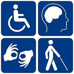 Disability symbols for accessibility page